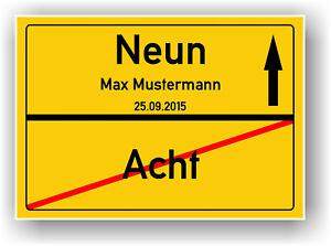Ortsschild-Ortstafel-zum-9-GEBURTSTAG-JUBILAUM-Deko-Karte-Geschenk-Geschenkidee