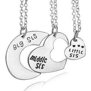 Fashion-Heart-Big-Middle-Little-Sister-Pendant-Necklace-Best-Friends-Family-Gift
