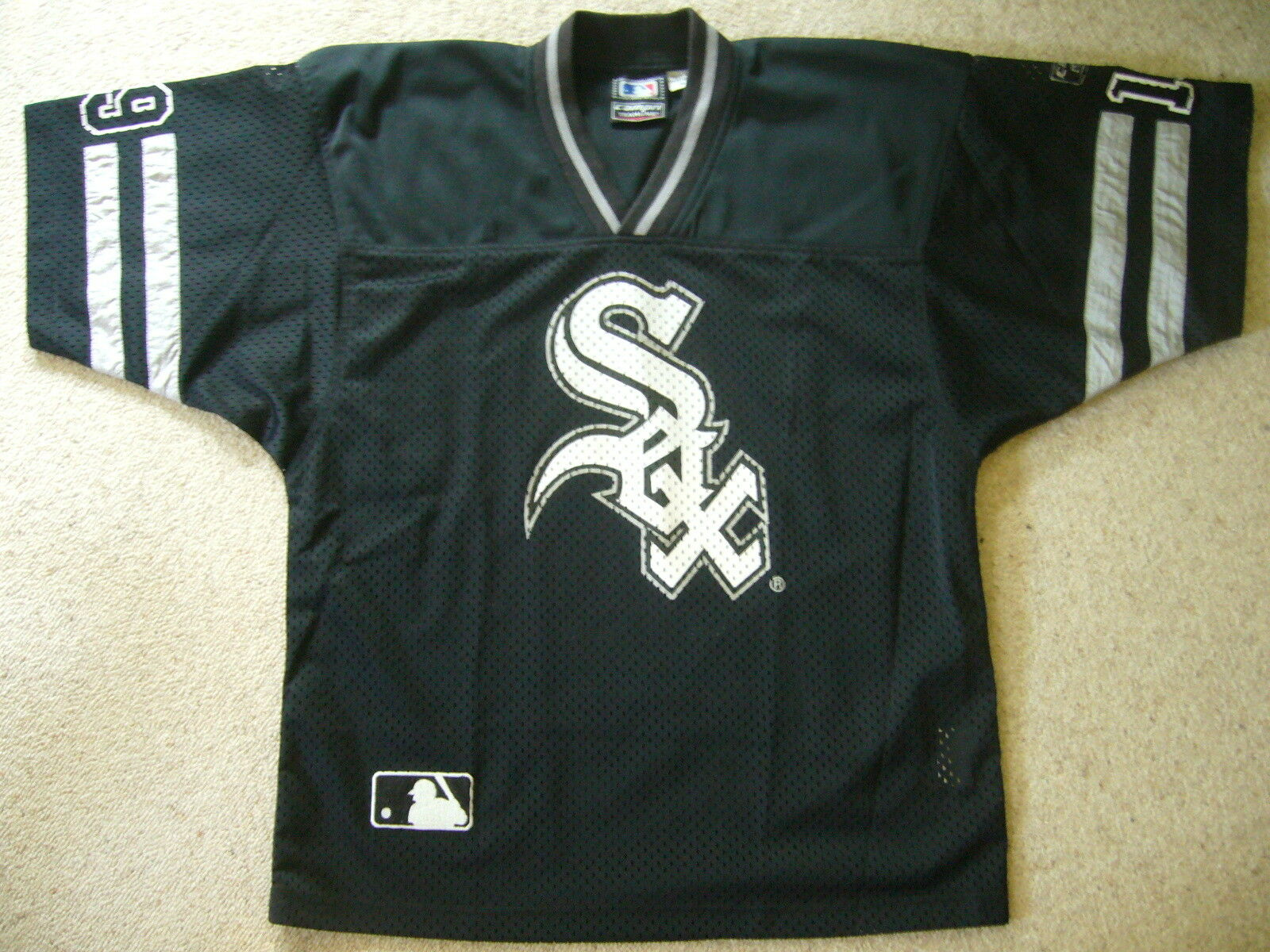Baseball Shirt   Trikot MLB Weiß SOX Nr. 19 CAMPRI TEAMLINE schwarz Gr. M
