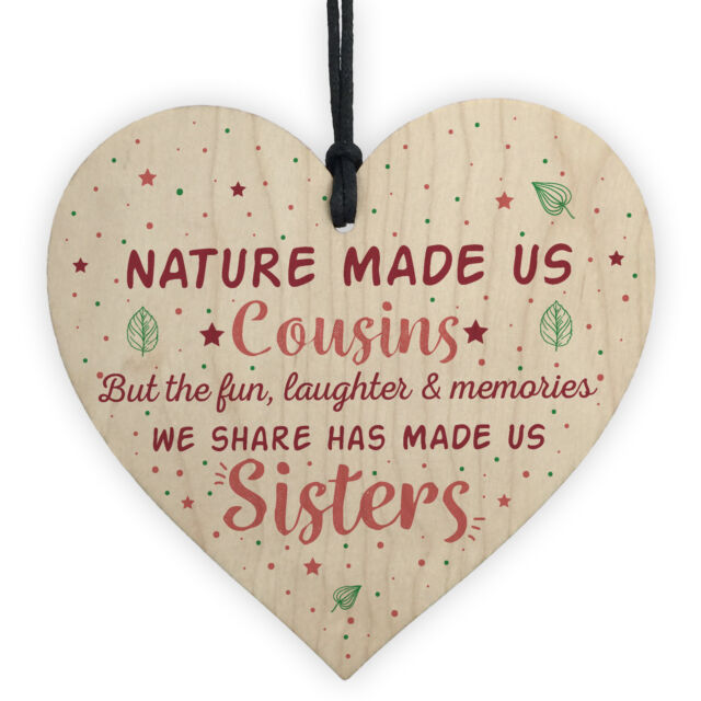 Cousins Sister Gifts Wooden Heart Chic Plaque Family Friendship