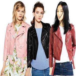 Plus-Size-Women-039-s-Fashion-Zipper-PU-Moto-Biker-Jacket-Leather-Short-Coat-Outwear
