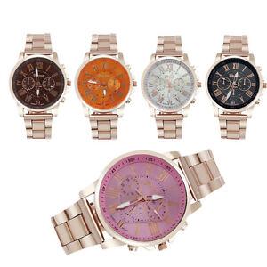 Women-039-Geneve-Roman-Numerals-Watch-Stainless-Steel-Analog-Quartz-Wrist-Watch-Kit