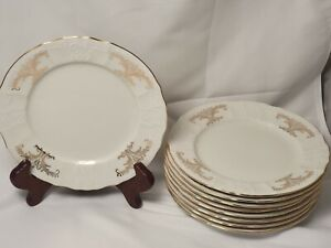 "Set of 9 VINTAGE Formalities Baum Brothers Bernadotte Gold Desert Plates 7 1/2"""