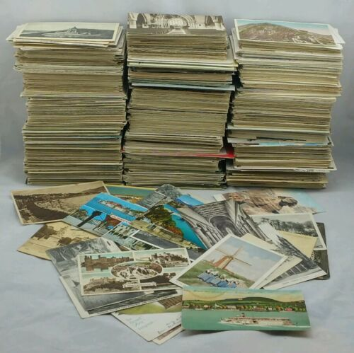 100 Vintage Postcards Collection UK /& Foreign Topo B//W Colour Joblot Used Only