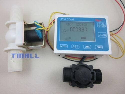 """G3//4/"""" Water Flow Control LCD Display+Flow Sensor Meter+Solenoid Valve Gauge New"""