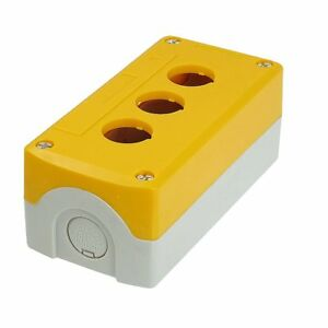 Yellow-Gray-Plastic-22mm-Dia-3-Hole-Push-Button-Switch-Control-Station-Box