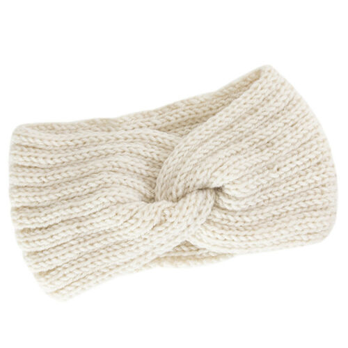 Damen Strick Ohrwärmer Stirnband Kopfband Haarband Knoten Schleife Turban DE