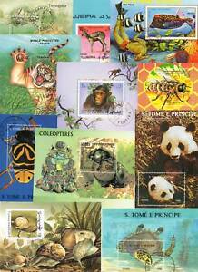 BLOCS-DE-TIMBRES-ANIMAUX-LOT-DE-10-BLOCS-TOUS-DIFFERENTS-STAMPS-ANIMALS