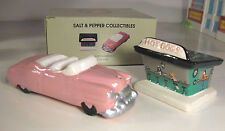 HOT DOG STAND & CAR Salt Pepper 50's Pink Convertible Sarsaparilla Vintage 1989
