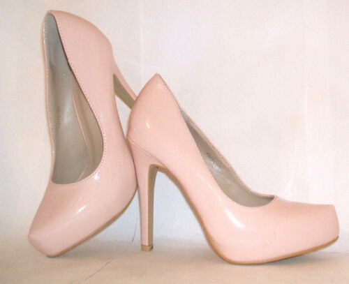 BNWB ANNE MICHELLE SIZE 5 6 38 39 PALE PINK NUDE PATENT HIGH HEEL COURT SHOES