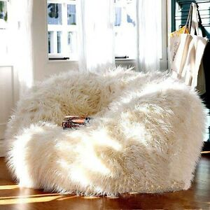 Image Is Loading Long Hair Woolly Style Faux Fur Beanbag Living