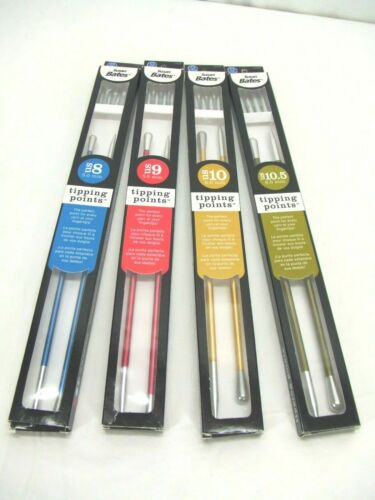 Susan Bates TIPPING POINTS Knitting Needles Lot~Size 8,9,10,10.5~Different Tips