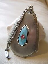 Antique Art Deco Silver T Blue Guilloche Pink Black Dance Dance Compact MARATHON