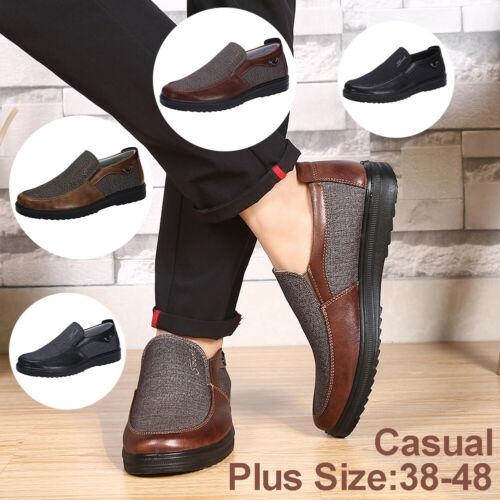 New Men/'s Leather Casual Shoes  Soft Sole Breathable Antiskid Loafers Moccasins