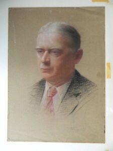 Antik Zeichnung Au Pastell Schule Französisch Xx Porträt Mann Circa 1930