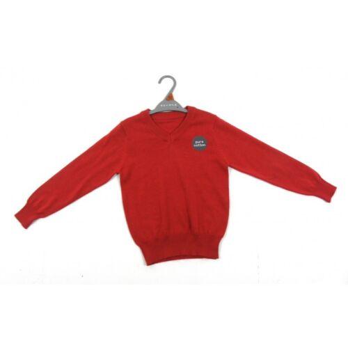3,4,5,6,7,8,9,10,11,12,13 NEW Boys//Girls Red School Jumper V Neck Ages
