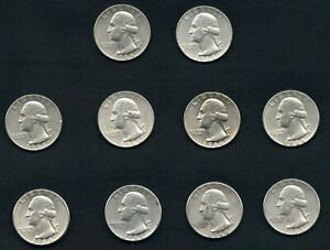 1964-Washington-Silver-Quarters-Set-of-10-with-FREE-Shipping