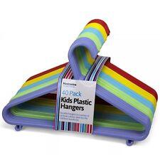 40 x Bambini Appendiabiti per bambini colorato vestitini CAMICIE PANTALONI GRUCCIA UK