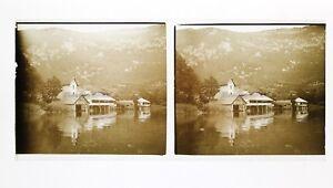 Francia Lac Inondazione Foto Stereo L7n8 Vintage Placca Da Lente