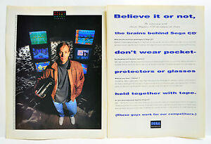 Brains Behind the Sega CD 1993 vintage video game two-page Print Ad