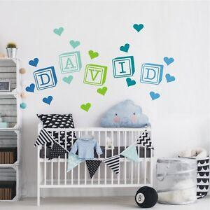 Namen Buchstaben Kinderzimmer | Wandtattoo Wandaufkleber Kinderzimmer Name Buchstaben Wurfel Herzen