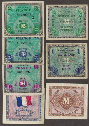 Allied Military - VF Your Choice Per Note WWII France and//or Germany AMC