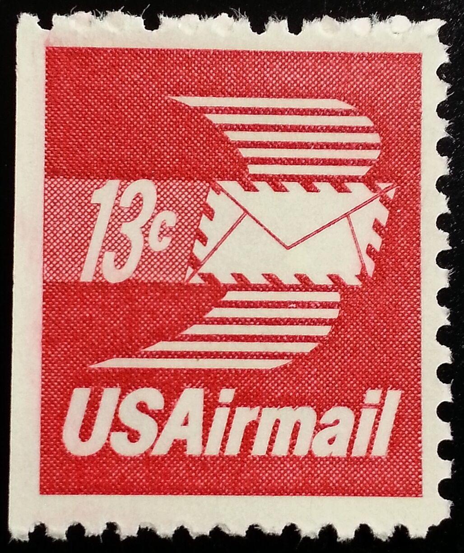 1973 13c Winged Envelope, Booklet Single Scott C79a Min
