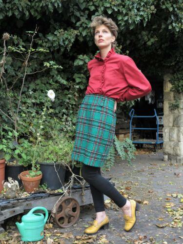 Rock 90 laine jupe Wollrock Truevintage 90er carreaux en vert années à Damenrock des 6f5qOwFx