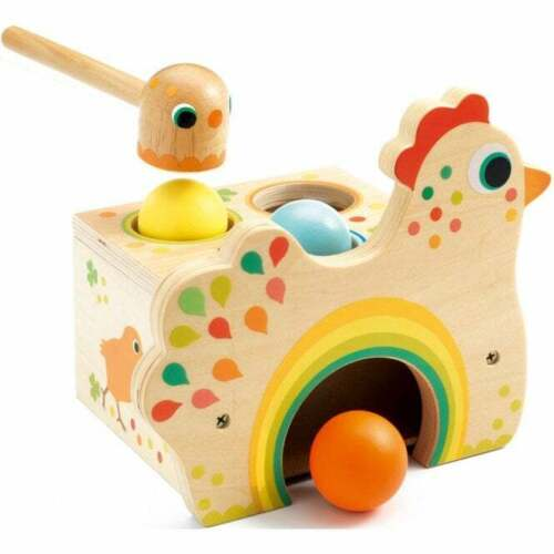 Djeco Wooden Hammer Toy Hen Tapatou Toddler Toy