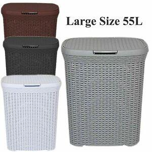 LAUNDRY-BASKET-WASHING-CLOTHES-STORAGE-HAMPER-RATTAN-STYLE-PLASTIC-BASKET-55L