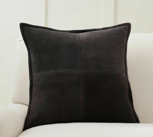 Black Suede Genuine Leather Cushion Pillow Throw Case Cover Living Home Decor