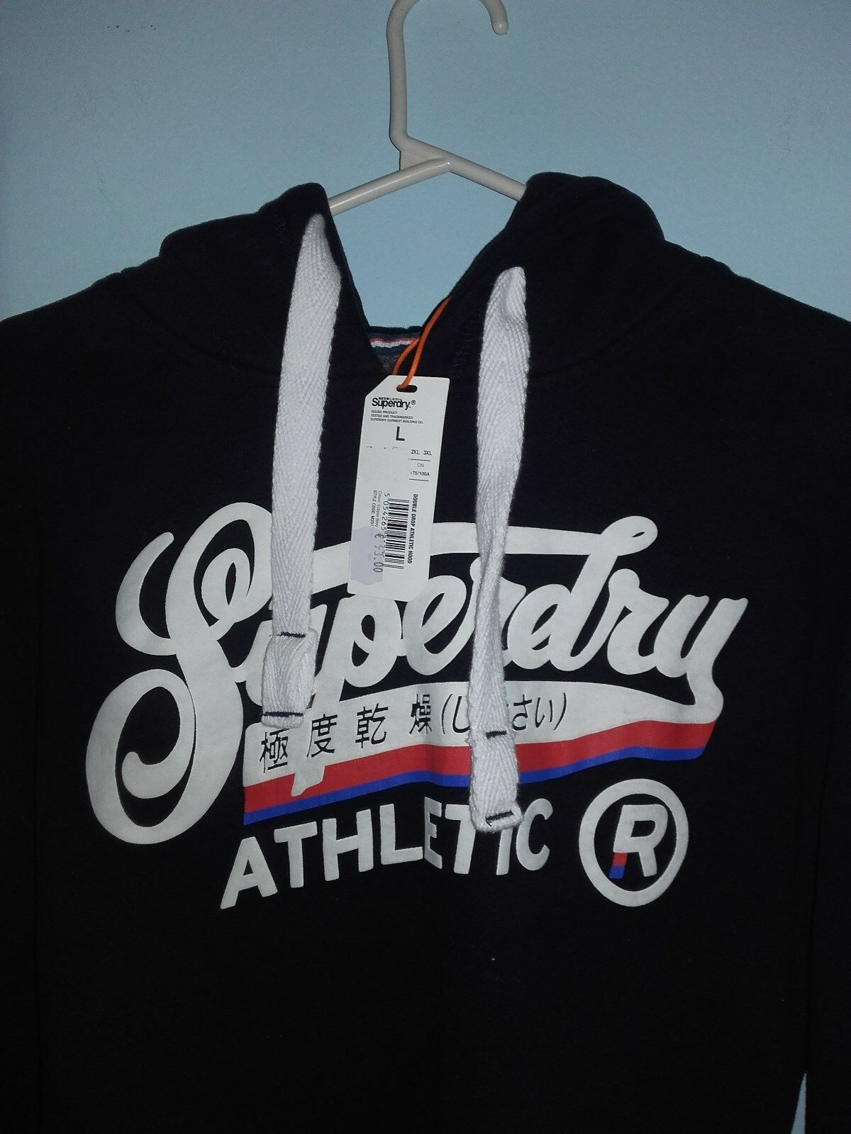 NEW SUPERDRY COLOR- DOUBLE DROP ATHLETIC HOODIE-SIZE LARGE/ECLIPSE NAVY COLOR- SUPERDRY 18e053