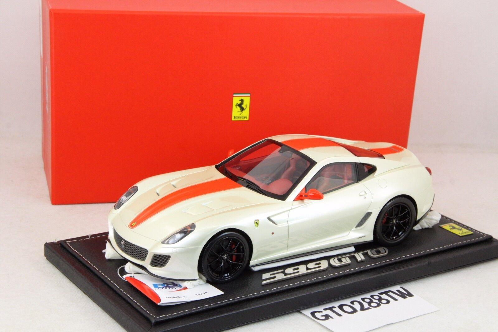 BBR 1 18 Scale Ferrari 599 GTO-Pearl blanc rouge Strip (limited 50pcs) P1816PWR