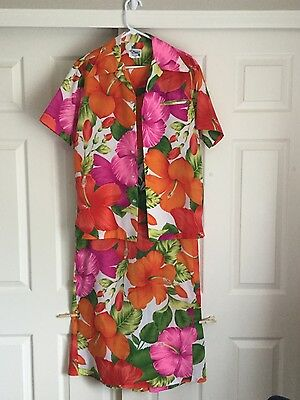 Women's VNTG 70's Hawaiian Dress & Shirt Pacific Isle Creation Sz 12 Floral Poly