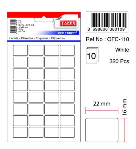 320 Etiketten weiß 16 x 22 mm TANEX OFC-110 Vielzweck Etiketten