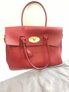 Image is loading Authentic-Mulberry-Women-Handbag-Satchel-Bayswater-Poppy- Red- dc9a657cb7bd7