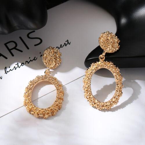 Trendy Women Punk Big Gold Dangle Drop Earrings Metal Statement Geometric Chic