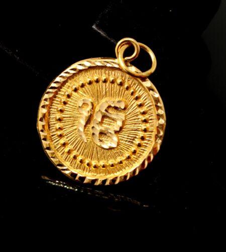 22k pendentif or massif rond Sikh religieux EK Onkar Pendentif Design p1033 NS