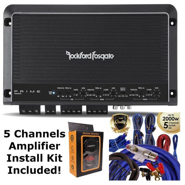 rockford fosgate r600x5 600 watt 5 channel amplifier car amp wiring kit rca