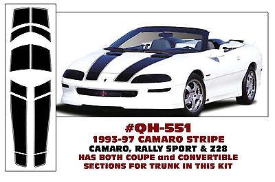 w// ROOF GE-QH-376 /& QH-444 1993-97 CAMARO /& Z28 COUPE RACING STRIPE 30TH ANN