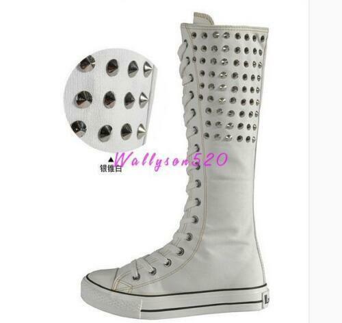 Womens Punk Canvas Knee High Boots Flats Shoes Rivet Spikes Zipper Lace Shoes