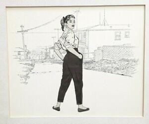 Original-Drawing-Young-Urban-Woman-By-Simon-Vanderlaan-Illustration-Art-SV67
