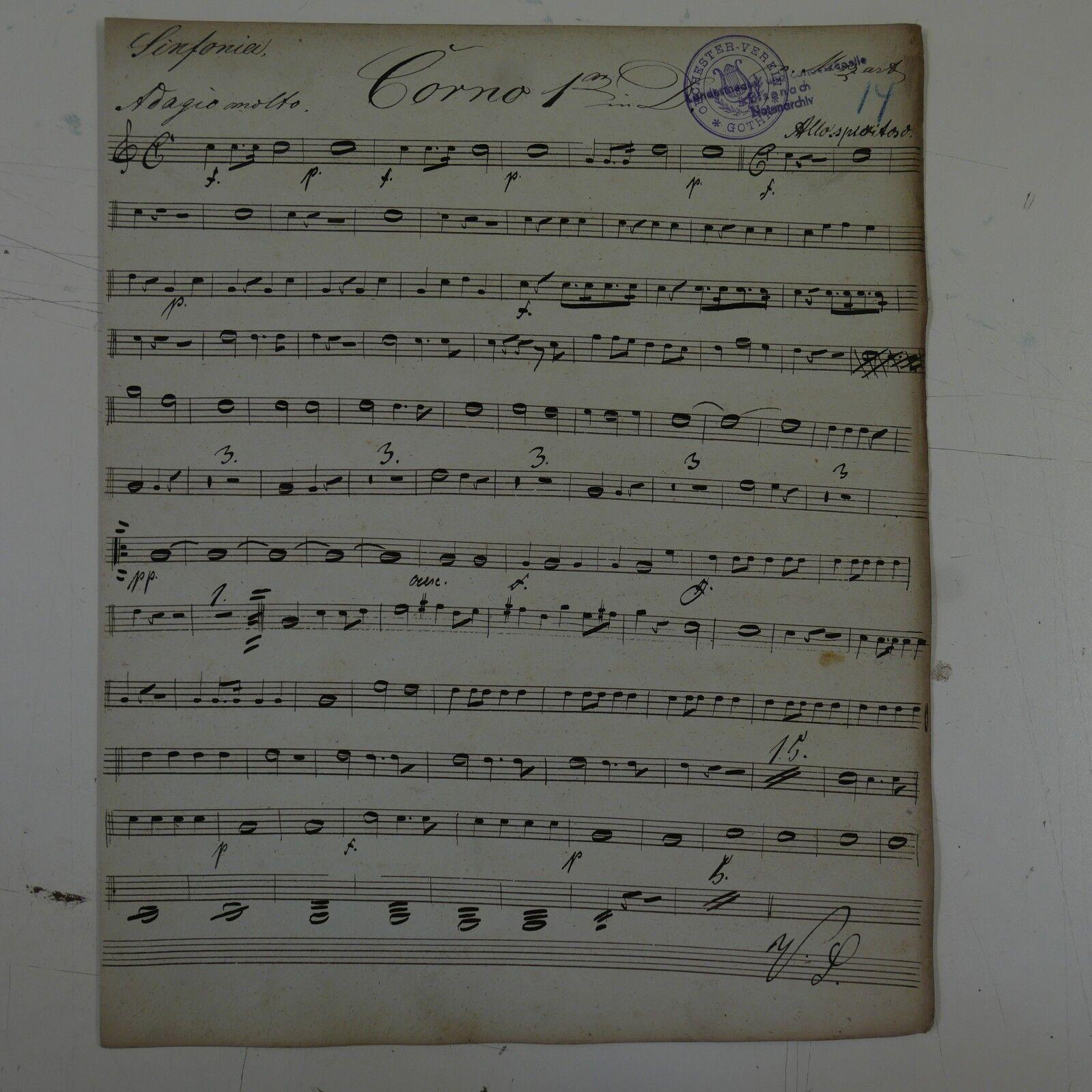 Antique music manuscript MOZART posthorn serenade in D kv 320 horn 1 part
