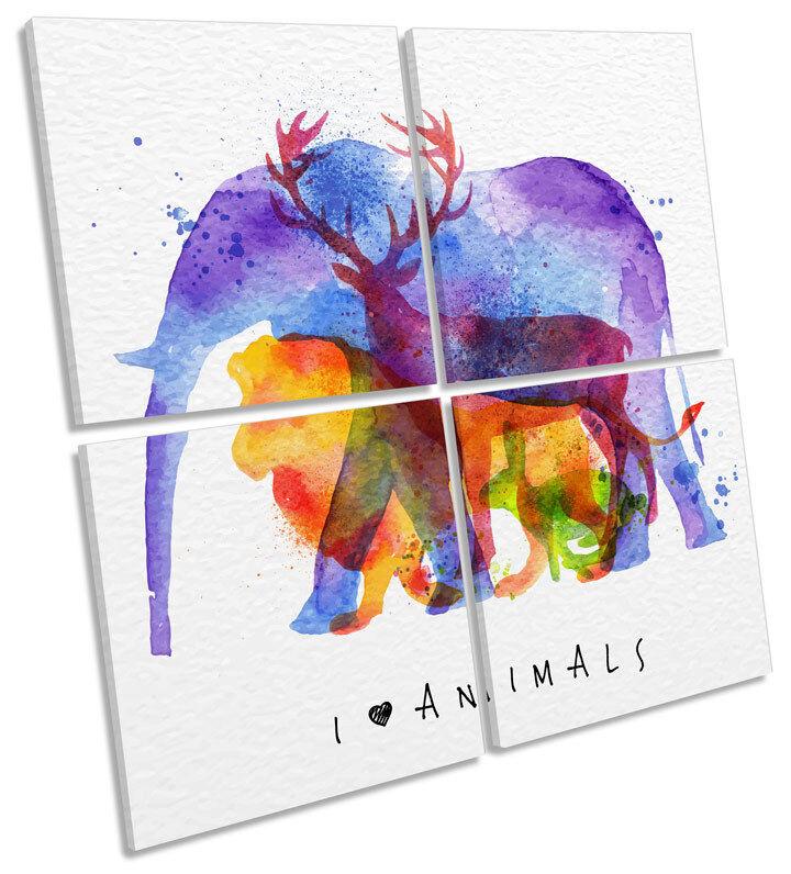 Animals Kids Room Nursey CANVAS Wand Kunst MULTI Square Drucken