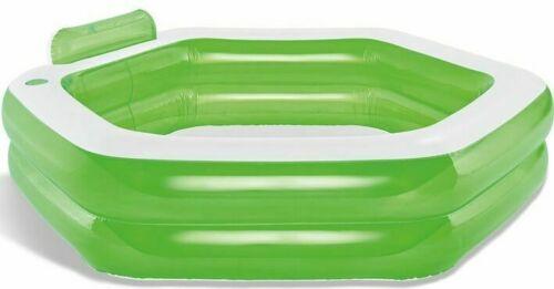 Planschbecken sechseckig 600Liter mit Getränkehalter Bodenventil grün Kinder