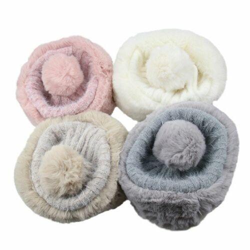 Beanie Hat Winter Fleece Fur Trim Lined Bobble Pom Pom With Faux Ladies Luxury