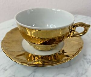 Demi-Tasse CUP & SAUCER Made In Germany Gold and White