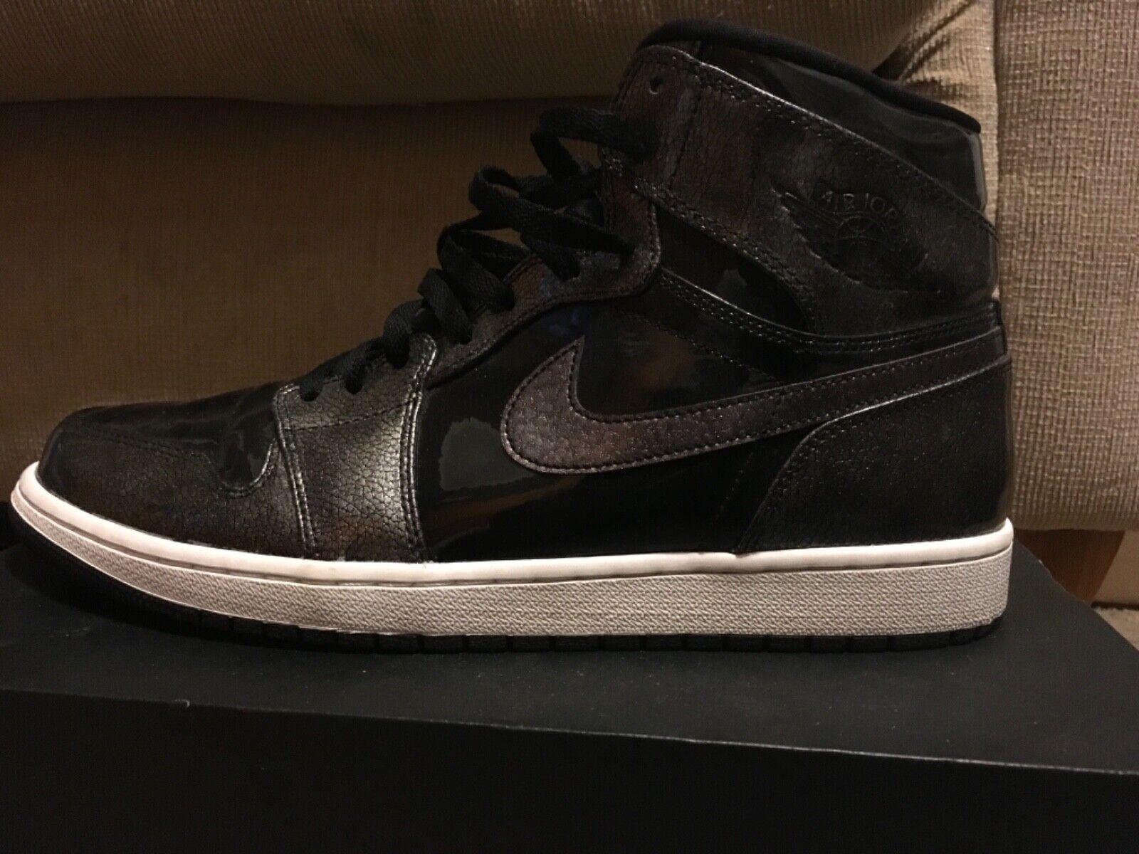 Nike Air Jordan 1 Retro High Black Anthracite 332550-017 Sz 13 Patent Leather
