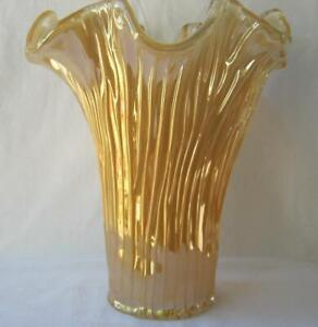 Genuine Italian Art Deco Glass Vase Golden Amber Tammaro Italy Murano No 491