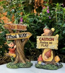 Miniature FAIRY GARDEN ~ Set Of 2 Pixies At Play This Way ENCHANTED FOREST  Signs